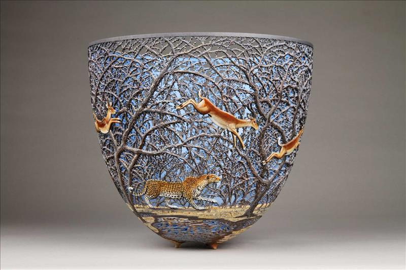 Hand Carves Delicate Nature Scenes Into Wooden Bowls by Gordon Pembridge
